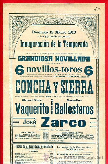 Carteles Toros: CARTEL TOROS, PLAZA VALENCIA , 1916 , VAQUERITO BALLESTEROS ZARCO , ORIGINAL. F23 - Foto 2 - 42571194