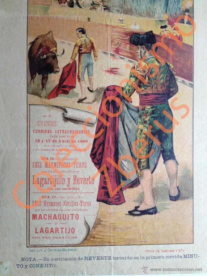 Carteles Toros: Plaza de Toros de Murcia - Corridas Extraordinarias Abril de 1900 - Machaquito, Lagartijo, Reverte - Foto 3 - 42708105