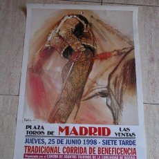 Carteles Toros: CARTEL DE TOROS DE MADRID. 25 DE JUNIO DE 1998. BENEFICENCIA. MANUEL CABALLERO.. Lote 42743731