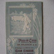 Carteles Toros: PLAZA DE TOROS DE VALENCIA.3 DE ABRIL DE 1910.TRIPTICO. GALLITO,COCHERITO Y GAONA.T041. Lote 42798096