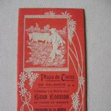 Carteles Toros: PLAZA DE TOROS DE VALENCIA.3 DE ABRIL DE 1910. GALLITO (RAFAEL), COCHERITO Y GAONA T-043. Lote 42798140