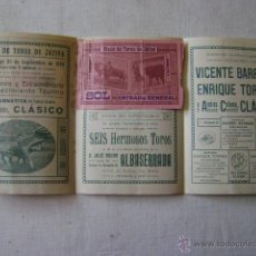 Carteles Toros: PLAZA DE TOROS DE JATIVA.1928. TRIPTICO.17,5 X 36 CTMS. T057. Lote 43060504