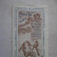 Carteles Toros: PLAZA DE TOROS DE VALENCIA.CORRIDAS DE FERIA JULIO 1912.T-059. Lote 43061096
