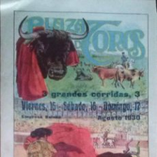 Carteles Toros: CARTEL PLAZA DE TOROS MONUMENTAL DE BARCELONA AGOSTO 1930 MIURAS. Lote 43270458