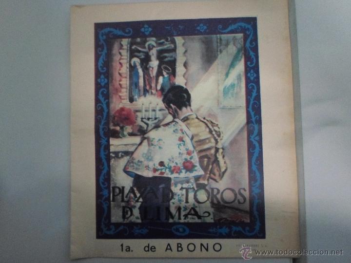 PROGRAMA TAURINO. CARTEL DE MANO DE PLAZA DE TOROS DE LIMA. PLAZA DE ACHO. TEMPORADA 1960. (Coleccionismo - Carteles Gran Formato - Carteles Toros)
