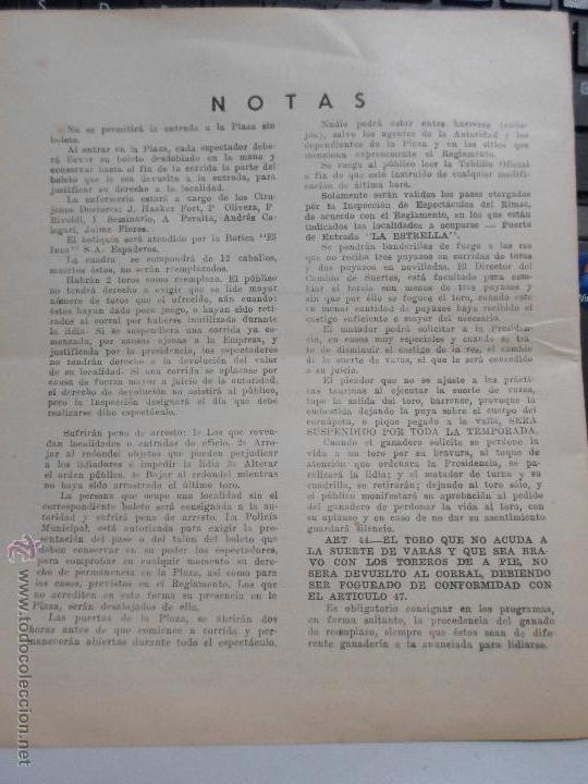 Carteles Toros: PROGRAMA TAURINO. CARTEL DE MANO DE PLAZA DE TOROS DE LIMA. PLAZA DE ACHO. TEMPORADA 1960. - Foto 3 - 43480283
