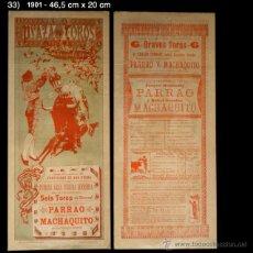 Carteles Toros: PCMAQUIA -CARTEL DE TOROS - PLAZA DE TOROS NUEVA DE BARCELONA - 1901 - PARRAO - MACHAQUITO. Lote 44084764