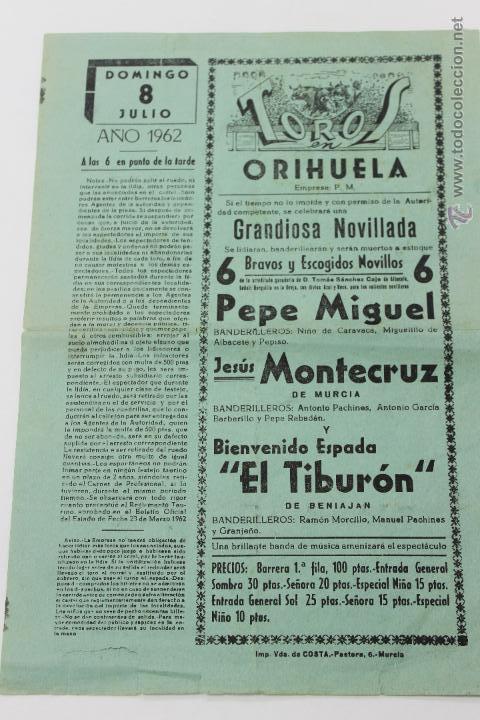 TOROS EN ORIHUELA, DOMINGO 8 JULIO AÑO 1962, ALICANTE (Coleccionismo - Carteles Gran Formato - Carteles Toros)