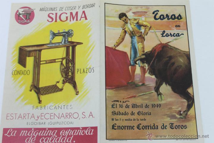 Carteles Toros: CARTEL DE TOROS EN LORCA, SABADO DE GLORIA 1949 - Foto 2 - 44567048