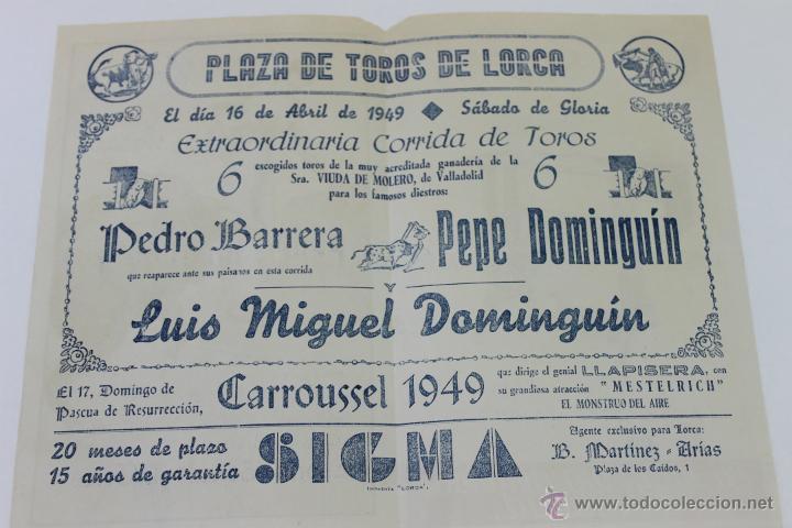 Carteles Toros: CARTEL DE TOROS EN LORCA, SABADO DE GLORIA 1949 - Foto 3 - 44567048