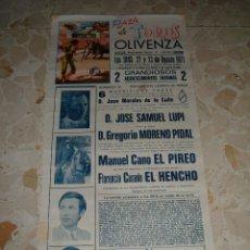 Carteles Toros: CARTEL DE TOROS PLAZA DE OLIVENZA, 1971. Lote 44726921