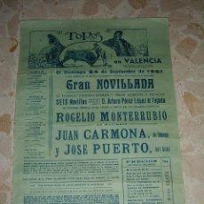 Carteles Toros: CARTEL DE TOROS PLAZA DE VALENCIA, 1961. Lote 44727033
