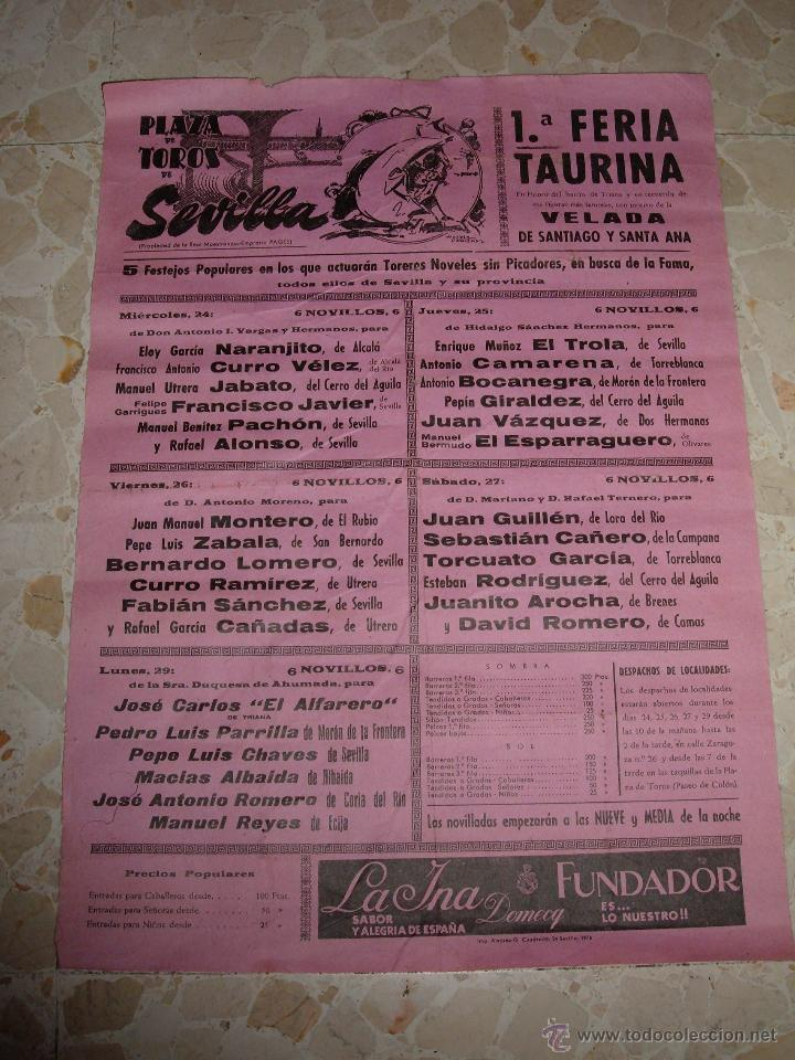 CARTEL DE TOROS PLAZA DE SEVILLA, 1974 (Coleccionismo - Carteles Gran Formato - Carteles Toros)
