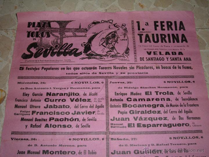 Carteles Toros: CARTEL DE TOROS PLAZA DE SEVILLA, 1974 - Foto 2 - 44727483