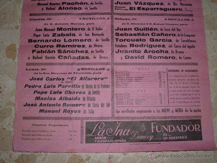 Carteles Toros: CARTEL DE TOROS PLAZA DE SEVILLA, 1974 - Foto 3 - 44727483
