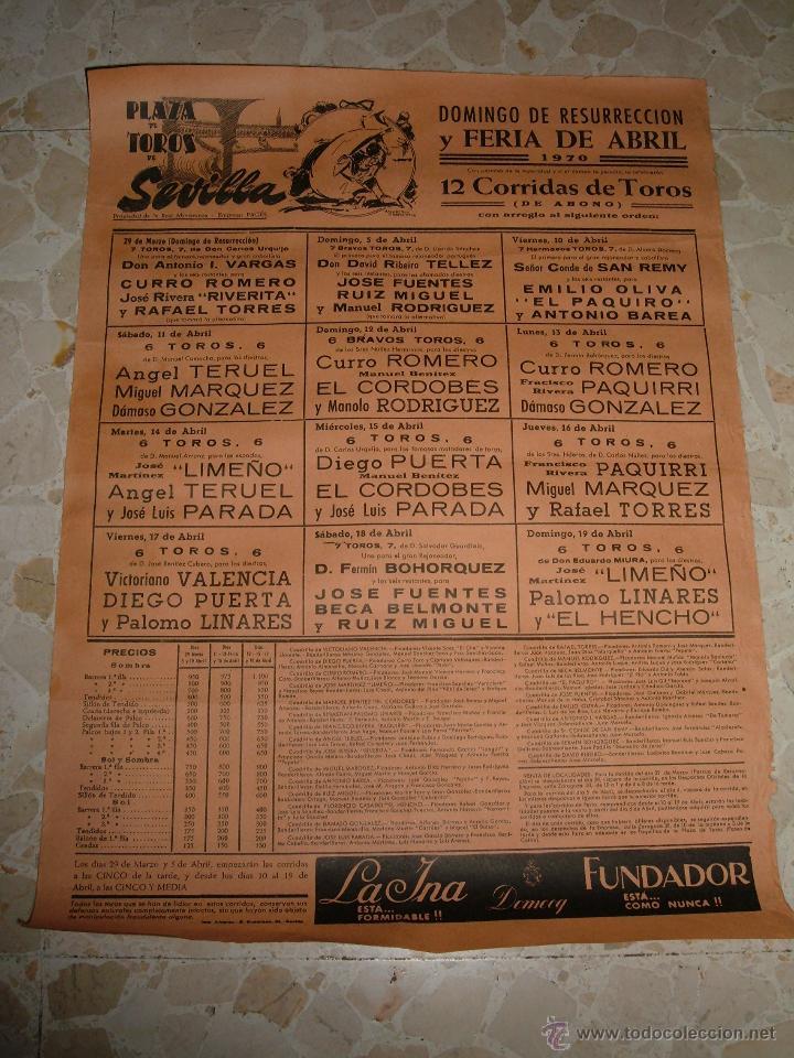 CARTEL DE TOROS PLAZA DE SEVILLA, 1970 (Coleccionismo - Carteles Gran Formato - Carteles Toros)