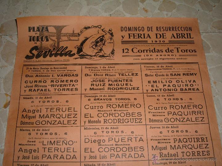 Carteles Toros: CARTEL DE TOROS PLAZA DE SEVILLA, 1970 - Foto 2 - 44727551