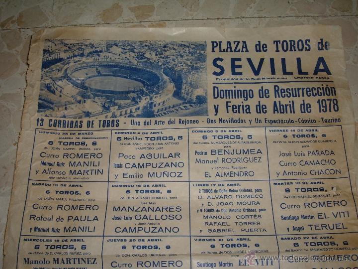 Carteles Toros: CARTEL DE TOROS PLAZA DE SEVILLA, 1978 - Foto 2 - 44727606