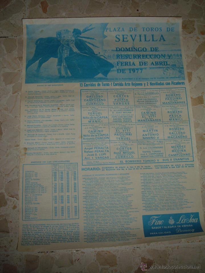 CARTEL DE TOROS PLAZA DE SEVILLA, 1977 (Coleccionismo - Carteles Gran Formato - Carteles Toros)