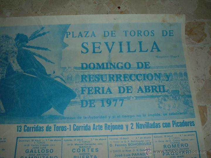 Carteles Toros: CARTEL DE TOROS PLAZA DE SEVILLA, 1977 - Foto 2 - 44787963