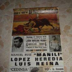 Carteles Toros: CARTEL DE TOROS PLAZA DE ALMENDRALEJO, 1976. Lote 44788241