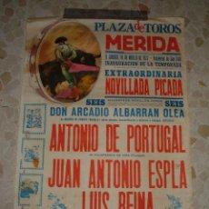 Carteles Toros: CARTEL DE TOROS PLAZA DE MERIDA , 1977. Lote 44788379