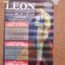 Carteles Toros: CARTEL PLAZA TOROS DE LEON FERIA DE SAN JUAN Y SAN PEDRO JOSE TOMAS 2014. Lote 44837612