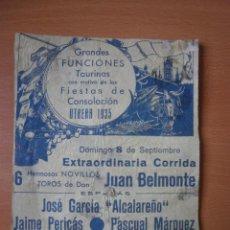 Carteles Toros: CARTEL DE TOROS (TROZO). Lote 44966386