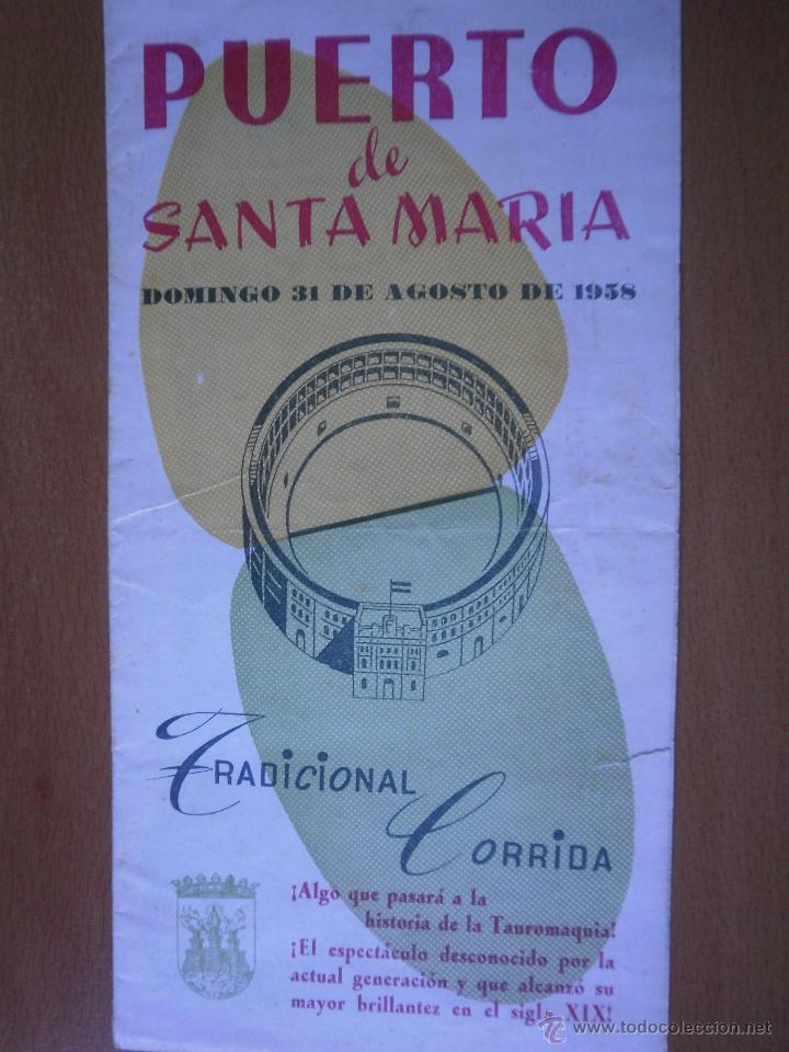 PROGRAMA TOROS EN EL PUERTO 1958 (Coleccionismo - Carteles Gran Formato - Carteles Toros)