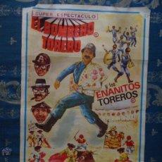 Carteles Toros: ANTIGUO CARTEL BOMBERO TORERO PLAZA DE TOROS JEREZ Y LOS ENANITOS TOREROS. Lote 45026491
