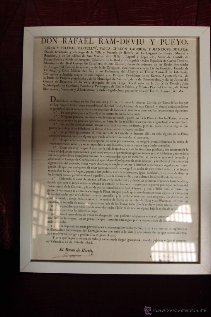 1828 CARTEL CORRIDA DE TOROS. BARÓN DE HERVÉS. VALENCIA. RARO, ÚNICO. (Coleccionismo - Carteles Gran Formato - Carteles Toros)