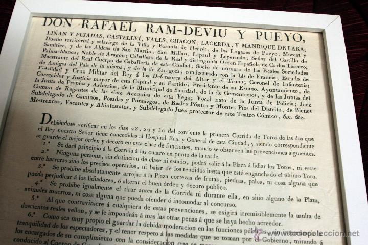 Carteles Toros: 1828 CARTEL CORRIDA DE TOROS. Barón de Hervés. Valencia. RARO, ÚNICO. - Foto 2 - 45109674