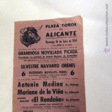 Carteles Toros: CARTEL PLAZA DE TOROS DE ALICANTE, 1961.. Lote 51662847