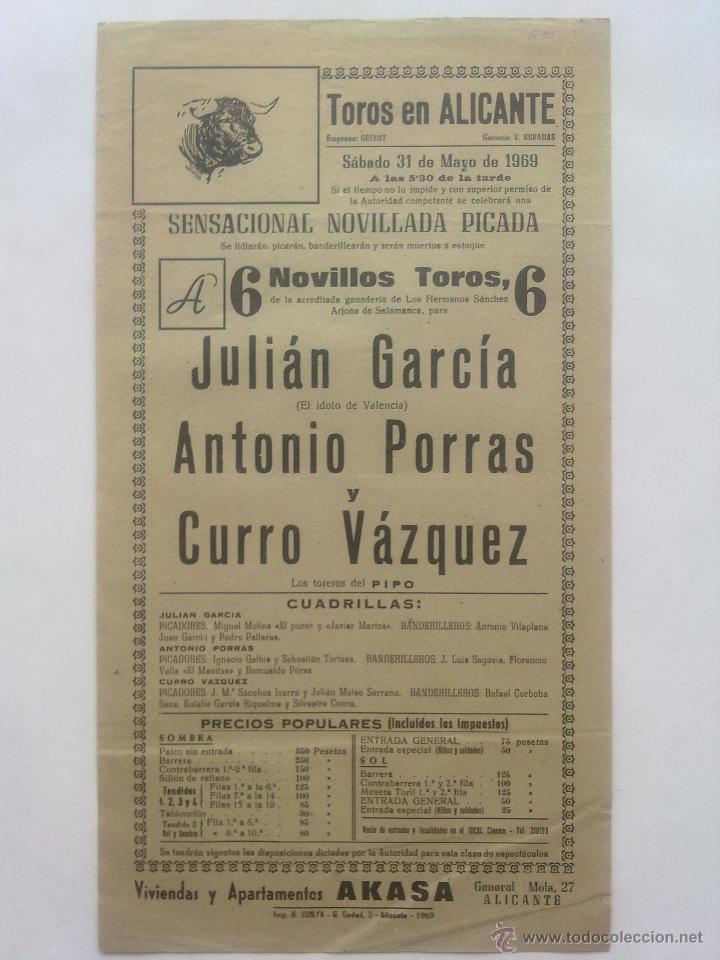 CARTEL PLAZA TOROS ALICANTE 1969 (Coleccionismo - Carteles Gran Formato - Carteles Toros)