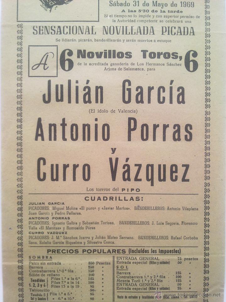 Carteles Toros: CARTEL PLAZA TOROS ALICANTE 1969 - Foto 2 - 45337761