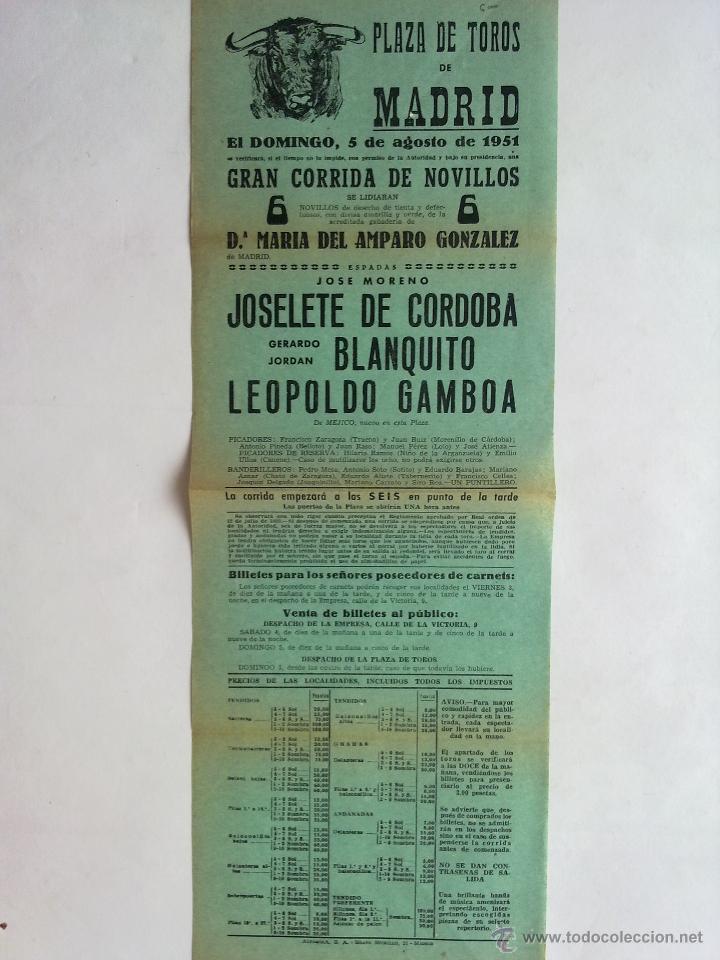 CARTEL PLAZA TOROS MADRID AÑO 1951, JOSELETE CORDOBA, FRASQUITO, GAMBOA (Coleccionismo - Carteles Gran Formato - Carteles Toros)