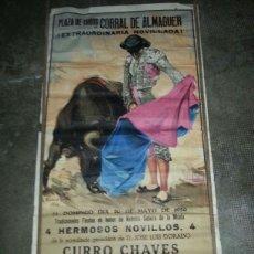 Carteles Toros: CARTEL TOROS, PLAZA DE CORRAL DE ALMAGUER. 20 MAYO 1956 NOVILLADA. 1,05 MTS ALTO X 56 CMS ANCHO . Lote 45615208