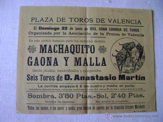 TOROS VALENCIA.1913.MACHAQUITO GAONA Y MALLA.T-101 (Coleccionismo - Carteles Gran Formato - Carteles Toros)
