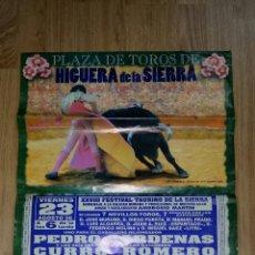 Carteles Toros: CARTEL DE TOROS DE HIGUERA DE LA SIERRA AÑO 1996. TAMAÑO 67X49 CM. Lote 45727917
