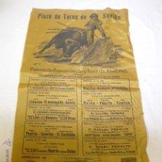 Carteles Toros: ANTIGUO CARTEL DE TOROS EN TELA TIPO SEDA, PLAZA SEVILLA, 1965. Lote 46281378