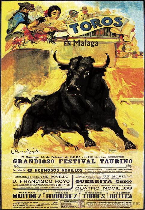 FESTIVAL TAURINO MALAGA FEBRERO 1932 LÁMINA CARTEL DE TOROS (Coleccionismo - Carteles Gran Formato - Carteles Toros)