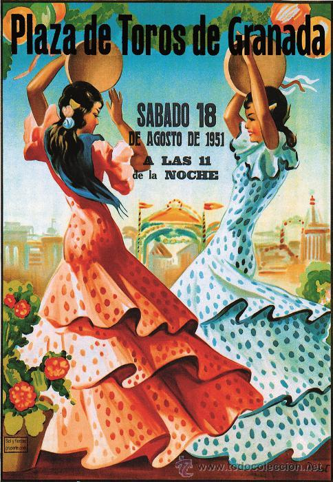 PLAZA DE TOROS DE GRANADA AGOSTO 1951. LÁMINA CARTEL (Coleccionismo - Carteles Gran Formato - Carteles Toros)