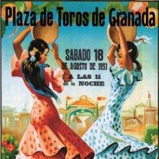 Affissi Tauromachia: PLAZA DE TOROS DE GRANADA AGOSTO 1951. LÁMINA CARTEL. Lote 53232945