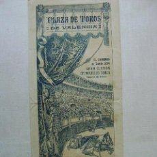 Carteles Toros: PLAZA DE TOROS DE VALENCIA,21 DE JUNIO DE 1914.T-131. Lote 46356077