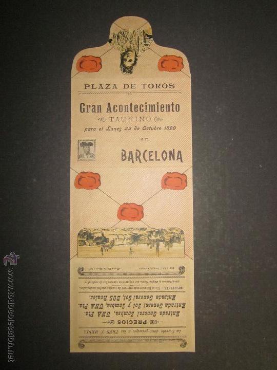 CARTEL TOROS BARCELONA AÑO 1899 -LAGARTIJO , MACHAQUITO ..-EN FORMA DE CARTERITA PLEGABLE -(V-1573 (Coleccionismo - Carteles Gran Formato - Carteles Toros)