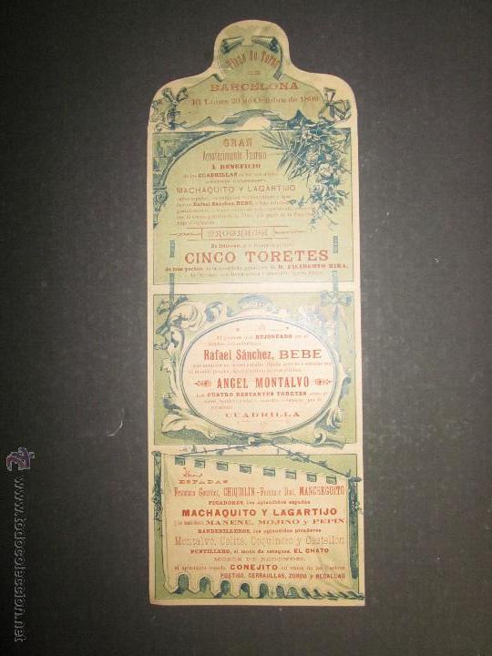Carteles Toros: CARTEL TOROS BARCELONA AÑO 1899 -LAGARTIJO , MACHAQUITO ..-EN FORMA DE CARTERITA PLEGABLE -(V-1573 - Foto 2 - 46431525