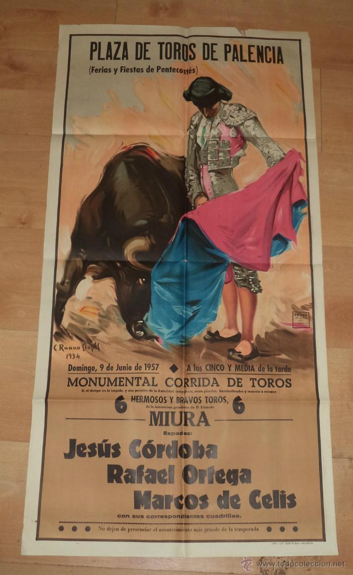 CARTEL DE TOROS,1957,PALENCIA,GRAN TAMAÑO,PERFECTO ESTADO,MUY BONITO,ES EL CARTEL DE LA FOTO (Coleccionismo - Carteles Gran Formato - Carteles Toros)