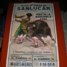 Carteles Toros: PLAZA DE TOROS DE SANLUCAR DE BARRAMEDA.FERIA DE LA MANZANILLA 1984.2 GRANDES CORRIDAS DE TOROS.. Lote 47172189