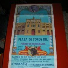 Carteles Toros: PLAZA D TOROS DEL PUERTO D SANTA MARIA.REJONEO.ANGEL Y RAFAEL PERALTA-ANTONIO VARGAS-VALDENEBRO.1983. Lote 47192112