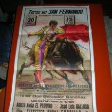 Carteles Toros: PLAZA DE TOROS DE SAN FERNANDO.NOVILLADA.EL PAQUIRO-GALLOSO-CURRILLO.AÑO 1974. Lote 47192228